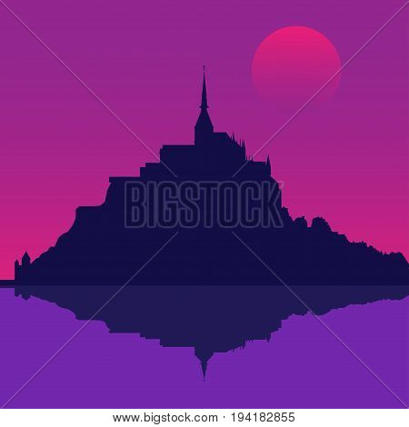Silhouette of the Mont Saint-Michel Abbey. Vector illustration EPS10