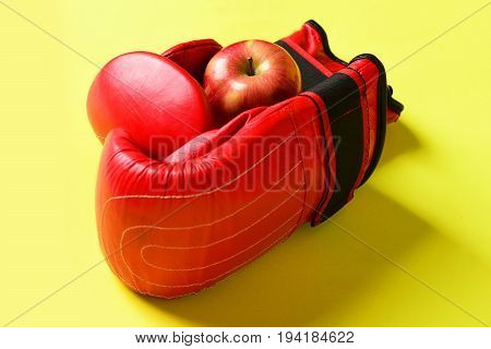 Training And Fitness Concept. Boxing Gloves In Red Color
