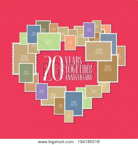 20 years of wedding or marriage vector icon illustration. Template design element with photo frames and heart shape for celebration of 20th wedding anniversary