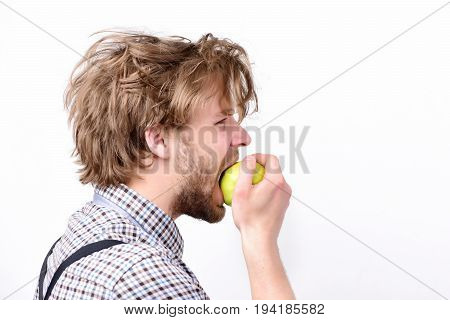 Idea Of Proper Nutrition. Guy With Fresh Fruit On White