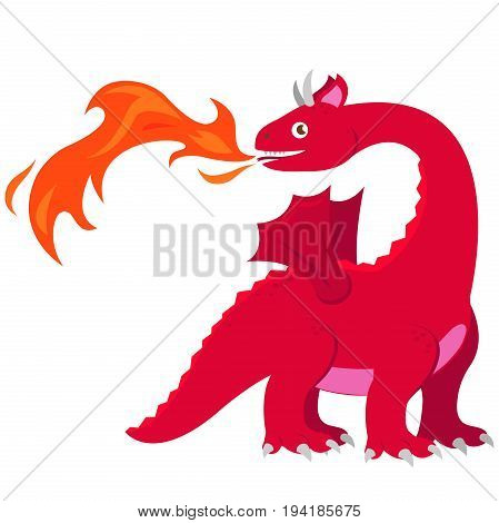 Red fire breathing breathing dragon. Vector illustration.