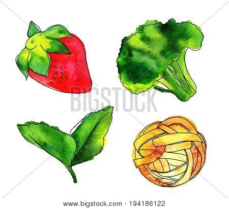 Set of watercolour vegan food themed drawings. Leaves of mint, strawberry, broccoli sprout, and pappardelle pasta nest, hand painted on white background, design elements for vegetarian menu