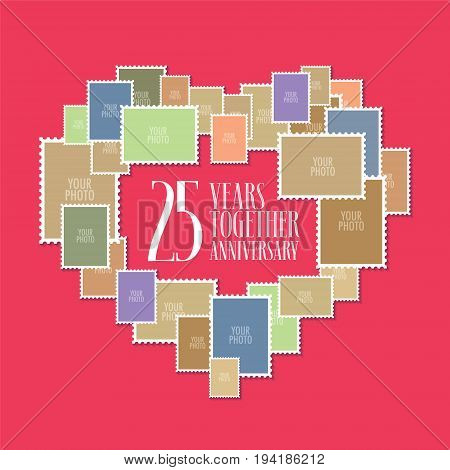 25 years of wedding or marriage vector icon illustration. Template design element with photo frames and heart shape for celebration of 25th wedding anniversary