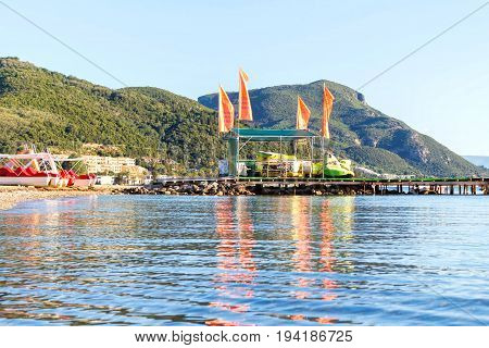 CORFU ISLAND, GREECE - JUNE 26, 2017: Water sports centre on pier of Corfu Island, Greece