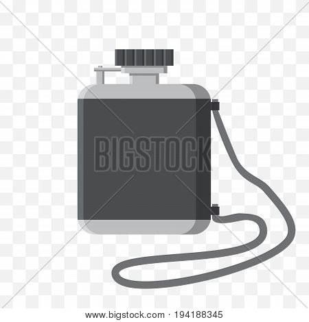 Vector illustration of the canteen on isolated transparent background. A metal flask in flat design.