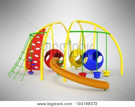 Childrens Playground Mesh Slide Balls Red Blue Green 3D Render On Gray Background