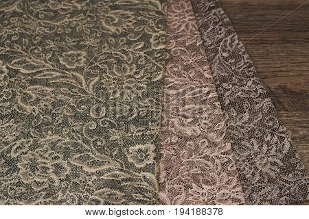 Close Up Of Beautiful Sheer Curtains Fabric Samples. Texture, Background, Pattern. Wedding Concept.