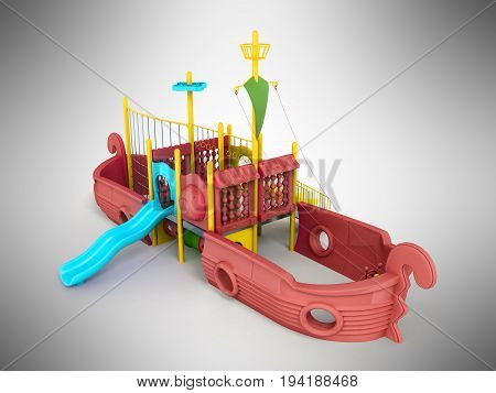 Playground For Children Ship Red 3D Render On A Gray Background