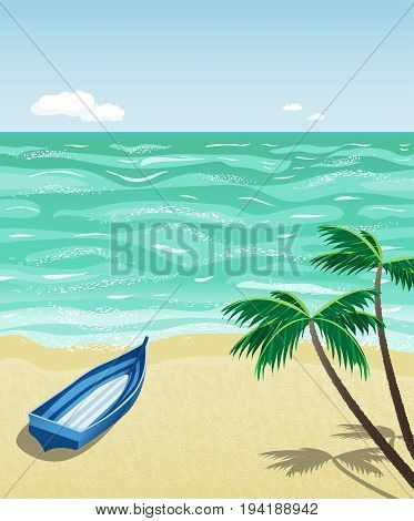 A simple wooden boat on empty beach. Vector illustration. Seaside ladscape. Concept for solitude, relaxation,  loneliness or privacy.