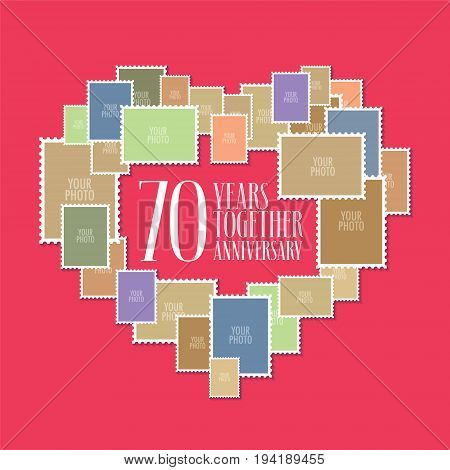 70 years of wedding or marriage vector icon illustration. Template design element with photo frames and heart shape for celebration of 70th wedding anniversar
