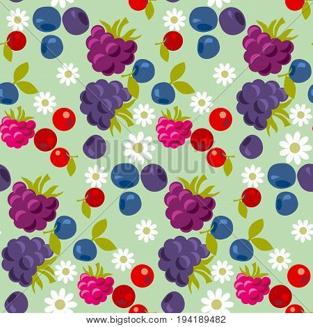 assorted violet and blue forest berry seamless pattern. vector illustration.