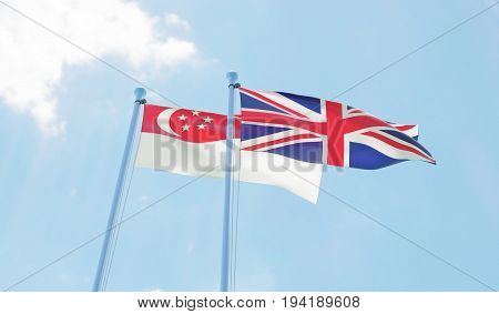 Singapore and Great Britain, two flags waving against blue sky. 3d image