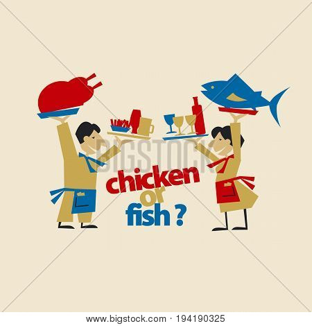 cafe waiters hold meat and fish. simple flat header. vector illustration on craft color background
