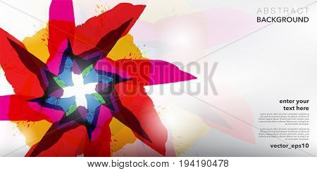 Abstract background. Watercolor and acrylic brush strokes on white background with place for your text. Can be used for poster, brochure, flyer and advertisement material. Vector illustration. Eps10.