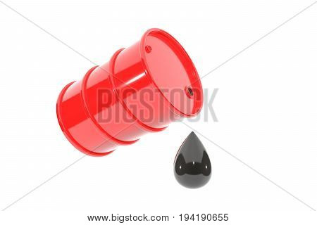 3d illustration: red metal barrel of gasoline tipped with a huge drop of oil drips down. Isolated on white background with empty space for text.