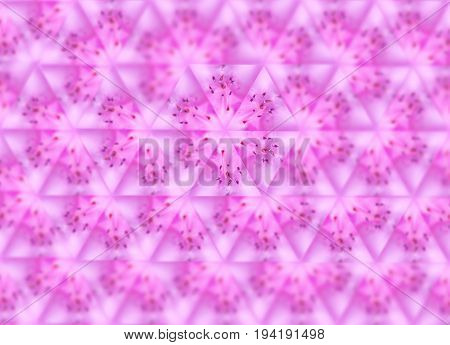 Sexangle pattern of pink blurred macro azalea. Abstract background with kaleidoscope effect, mirror reflection imitation. Summer, spring floral symmetrical template for wallpapers, banners, booklets, flyers, greeting cards; enchanting magnetic romantic im