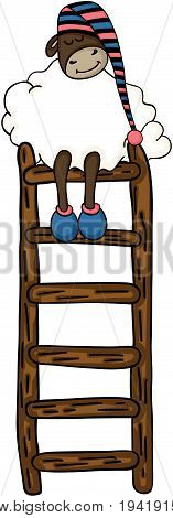 Scalable vectorial image representing a cute sheep sleeping on top of ladder, isolated on white.