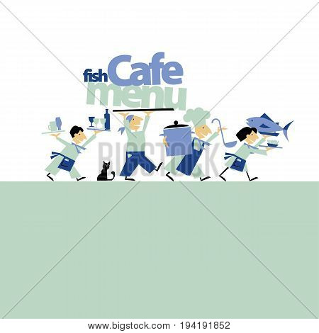 sea fish cafe menu header with writers. vector illustration on on white background