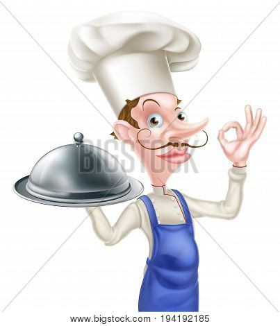 An illustration of a cartoon chef doing a perfect or okay sign and holding a siver platter dome