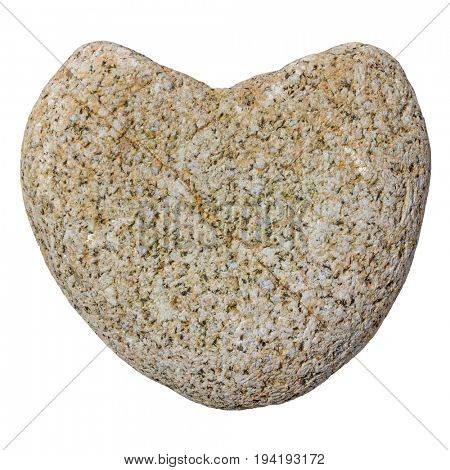 Natural granite heart of stone isolated on white.