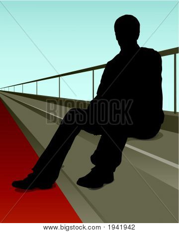 Silhouette On Steps
