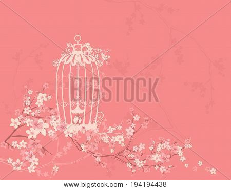 open bird cage among blossom flowers and tree branches - spring season floral vector design