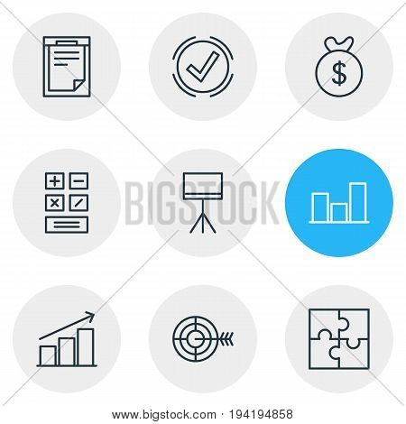 Vector Illustration Of 9 Business Icons. Editable Pack Of Board Stand, Riddle, Calculate Elements.