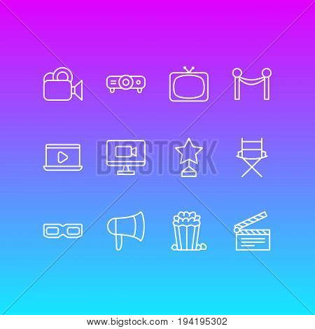 Vector Illustration Of 12 Movie Icons. Editable Pack Of Spectacles, Slideshow, Monitor And Other Elements.