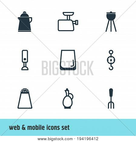 Vector Illustration Of 9 Restaurant Icons. Editable Pack Of Carafe, Barbecue, Mincer And Other Elements.