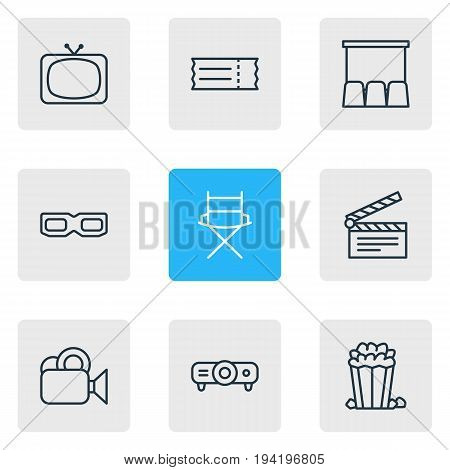 Vector Illustration Of 9 Cinema Icons. Editable Pack Of Shooting Seat, Coupon, Clapper And Other Elements.