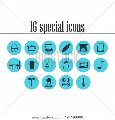 Vector Illustration Of 16 Restaurant Icons. Editable Pack Of Dinner Table, Glass Cup, Pepper Container And Other Elements.