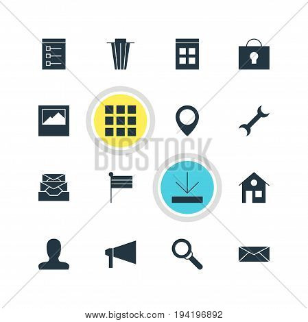 Vector Illustration Of 16 Online Icons. Editable Pack Of Magnifier, Keyhole, Map Pointer And Other Elements.