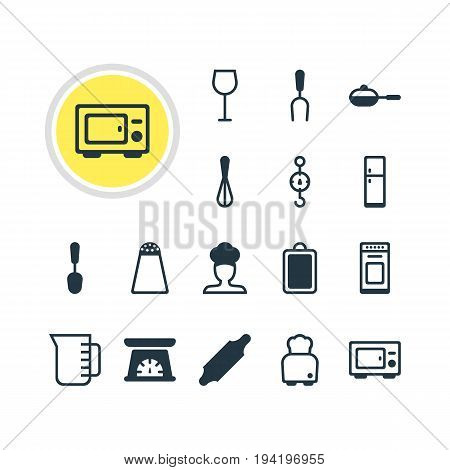 Vector Illustration Of 16 Restaurant Icons. Editable Pack Of Tablespoon, Pepper Container, Steelyard And Other Elements.