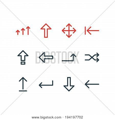 Vector Illustration Of 12 Direction Icons. Editable Pack Of Widen, Turn, Increase And Other Elements.