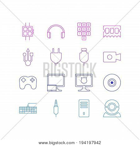 Vector Illustration Of 16 Notebook Icons. Editable Pack Of Web Camera, Serial Bus, Number Keypad And Other Elements.