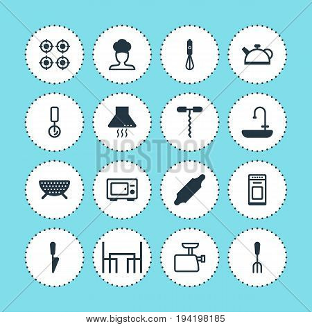 Vector Illustration Of 16 Kitchenware Icons. Editable Pack Of Mincer, Cook , Washstand Elements.