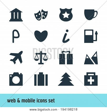Vector Illustration Of 16 Map Icons. Editable Pack Of Refueling, Masks, Present And Other Elements.