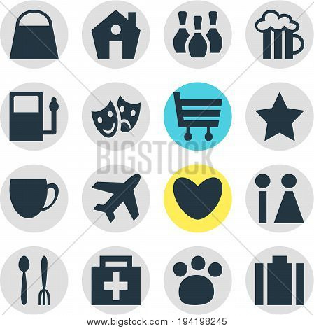 Vector Illustration Of 16 Travel Icons. Editable Pack Of Coffee Shop, Toilet, Refueling And Other Elements.