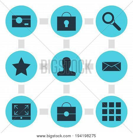 Vector Illustration Of 9 Internet Icons. Editable Pack Of Bookmark, Magnifier, Capture And Other Elements.