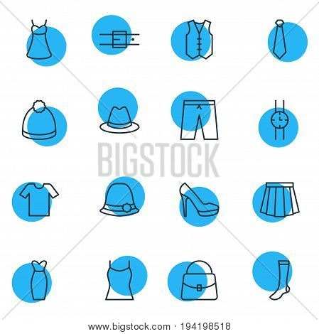 Vector Illustration Of 16 Dress Icons. Editable Pack Of Apparel, Singlet, Evening Dress And Other Elements.