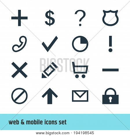 Vector Illustration Of 16 User Icons. Editable Pack Of Access Denied, Wheelbarrow, Top And Other Elements.
