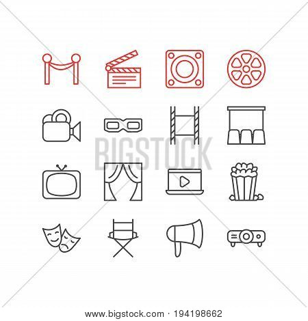 Vector Illustration Of 16 Cinema Icons. Editable Pack Of Monitor, Spectacles, Snack And Other Elements.