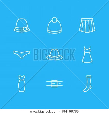 Vector Illustration Of 9 Dress Icons. Editable Pack Of Fedora, Sarafan, Hosiery And Other Elements.