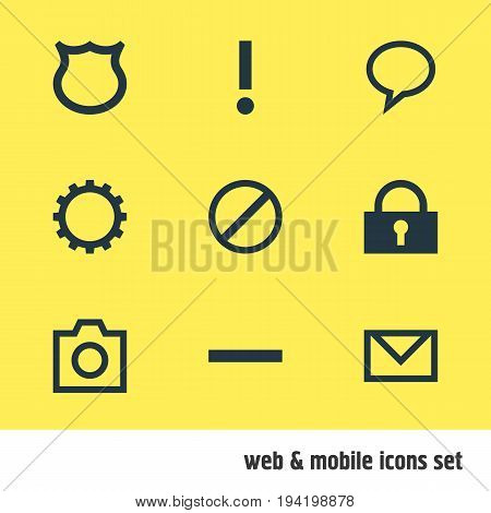 Vector Illustration Of 9 User Icons. Editable Pack Of Talk Bubble, Padlock, Snapshot And Other Elements.