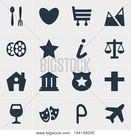 Vector Illustration Of 16 Location Icons. Editable Pack Of Cop, Car Park, Heart And Other Elements.