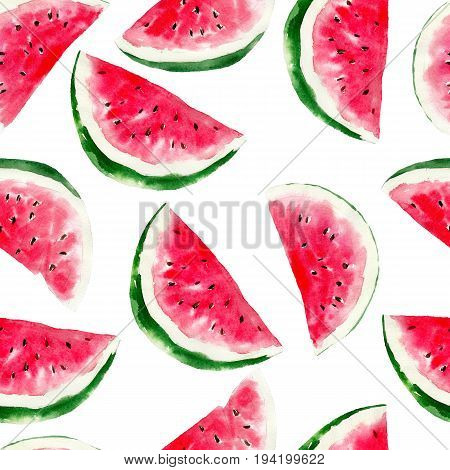 Watermelon watercolor seamless pattern. Bright tropical fruit isolated on white background hand-drawn design for background  textile wrap and etc.