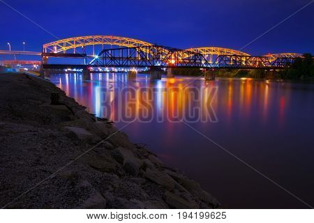 Kansas City Broadway Bridge at night over the Missouri River.