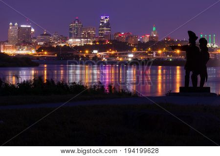 Kansas City Missouri skyline taken from Kaw Point Park where Lewis and Clark Expedition arrived on June 26 1804. All Copyright and trademarks removed.