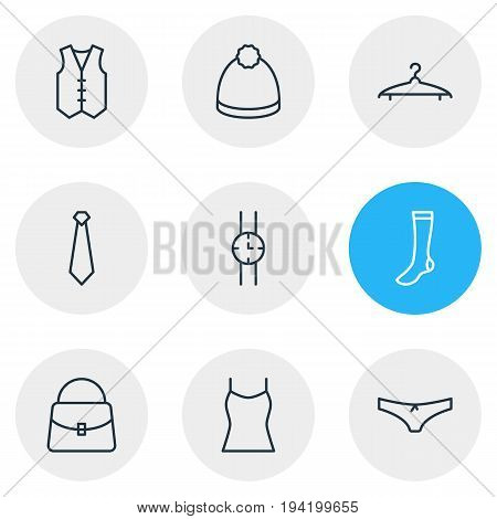 Vector Illustration Of 9 Clothes Icons. Editable Pack Of Waistcoat, Cloakroom, Handbag Elements.
