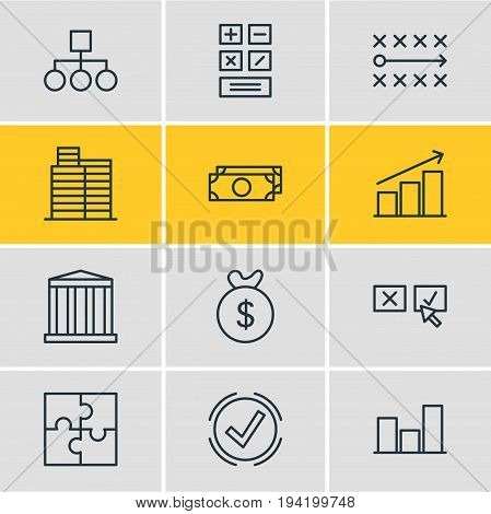 Vector Illustration Of 12 Management Icons. Editable Pack Of Recision, Columns, Riddle And Other Elements.